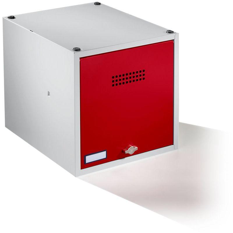 Certeo - Wolf Casier verrouillable extensible - h x l x p 400 x 400 x 500 mm - pour cadenas, porte rouge feu - Coloris des portes: rouge feu RAL 3000