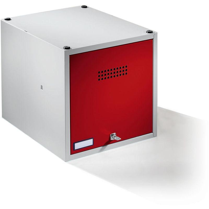 Certeo - Wolf Casier verrouillable extensible - h x l x p 400 x 400 x 500 mm - avec serrure de sécurité, porte rouge feu - Coloris des portes: rouge