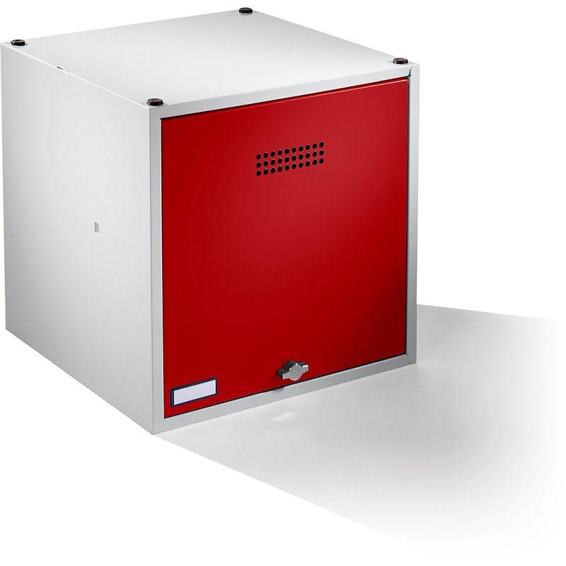 Certeo - Wolf Casier verrouillable extensible - h x l x p 500 x 500 x 500 mm - pour cadenas, porte rouge feu - Coloris des portes: rouge feu RAL 3000