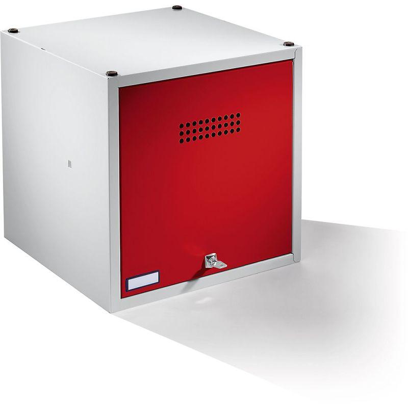 Wolf Casier verrouillable extensible - h x l x p 500 x 500 x 500 mm - avec serrure de sécurité, porte rouge feu - Coloris des portes: rouge feu RAL