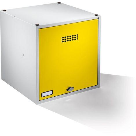 Wolf Casier verrouillable extensible - h x l x p 500 x 500 x 500 mm - avec serrure de sécurité, porte jaune zinc
