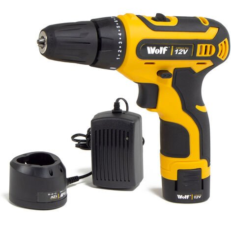 Wolf Cordless 12v Drill w/ Battery & Charger