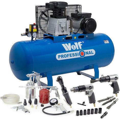 Wolf Dakota 150L Air Compressor with 3pc Air Tool Kit & 13pc Spray Kit