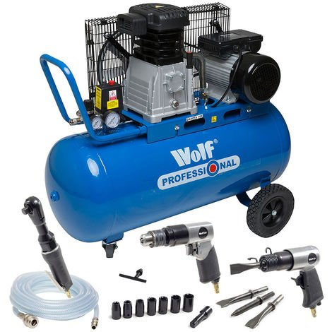 Wolf Dakota 90L Air Compressor with 3pc Air Tool Kit & 5m Air Hose