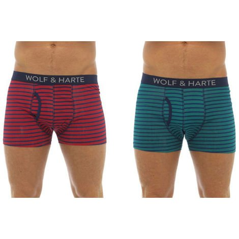 Wolf & Harte Cotton Stretch Boxer Short Trunk (Pack of 2)
