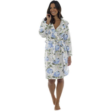 Wolf & Harte Womens Floral Print Hooded Fleece Dressing Gown
