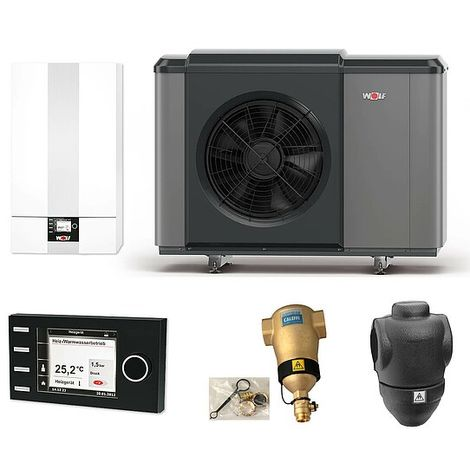 WOLF Luft/Wasser-Wärmepumpen-Paket CHA-Monoblock 07/400V mit Bedienmodul und Zubehör - 9146862W01