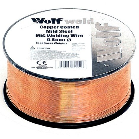 Wolf MIG Wire 0.8mm 0.7Kg Copper Coated Mild Steel Spool