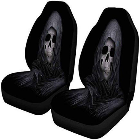Wolf Print Skull Pattern Car Front Seat Cover Universal Protective Cloth Cases For Sedan SUV (1pc Type 2)