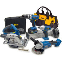 Wolf Pro Cordless 20v 8pc Power Tool Kit with Battery, Charger & Bag
