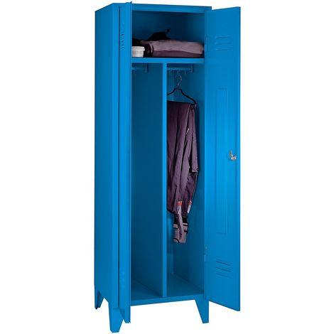 Wolf Vestiaire métallique - 1 compartiment haut - portes pleines, gris bleu, largeur compartiment 600 mm