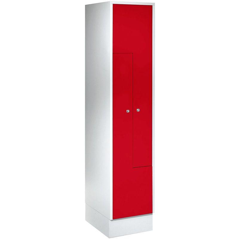 Certeo - Wolf Vestiaire métallique avec portes en Z - 2 compartiments - portes rouge feu - Coloris des portes: rouge feu RAL 3000