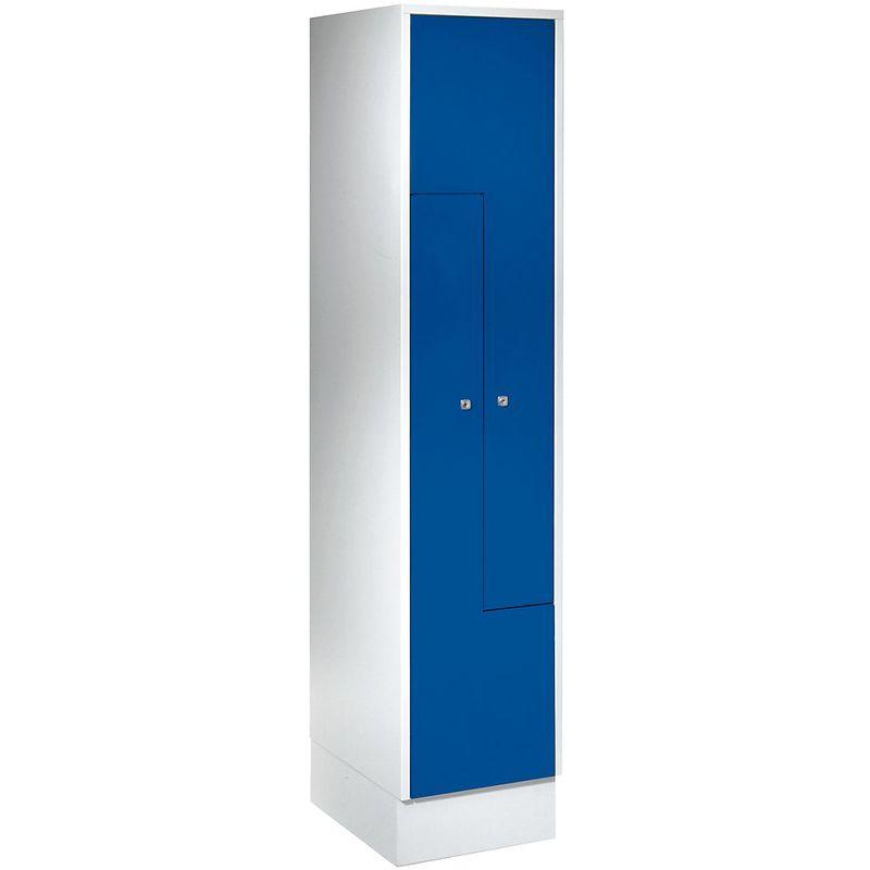 Certeo - Wolf Vestiaire métallique avec portes en Z - 2 compartiments - portes bleu gentiane - Coloris des portes: Bleu gentiane RAL 5010