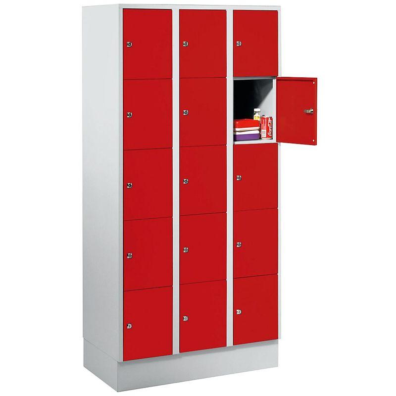 Certeo - Wolf Vestiaire métallique - avec socle, 15 compartiments, 300 mm - gris clair / rouge feu - Coloris des portes: rouge feu RAL 3000