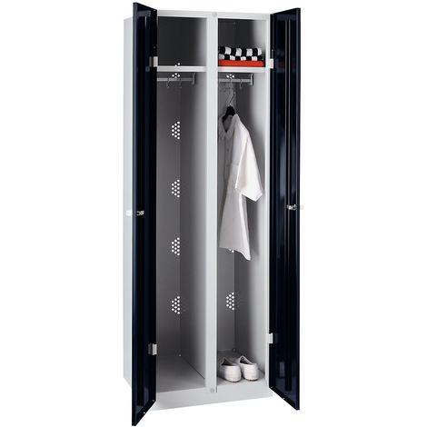 Wolf Vestiaire métallique - largeur 600 mm, 2 penderies - portes noir profond