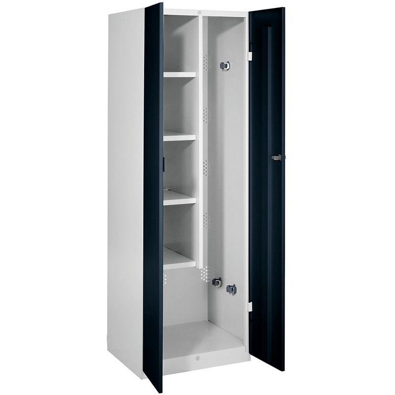 Certeo - Wolf Vestiaire métallique - largeur 600 mm, 4 tablettes, 1 compartiment pour ustensiles - portes noir profond - Coloris des portes: noir