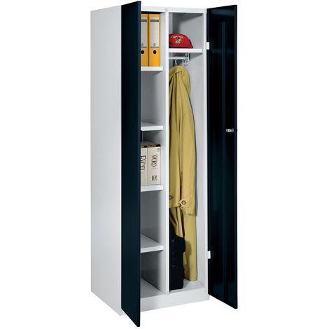 Wolf Vestiaire métallique - largeur 600 mm, 4 tablettes, 1 penderie - portes noir profond