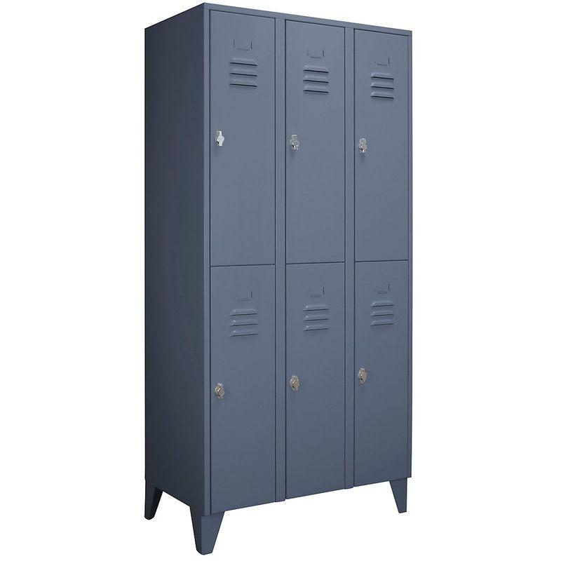 Wolf Vestiaire métallique sur pieds, compartiments séparés horizontalement - portes à parois pleines, largeur - Coloris corps: bleu-gris RAL 7031
