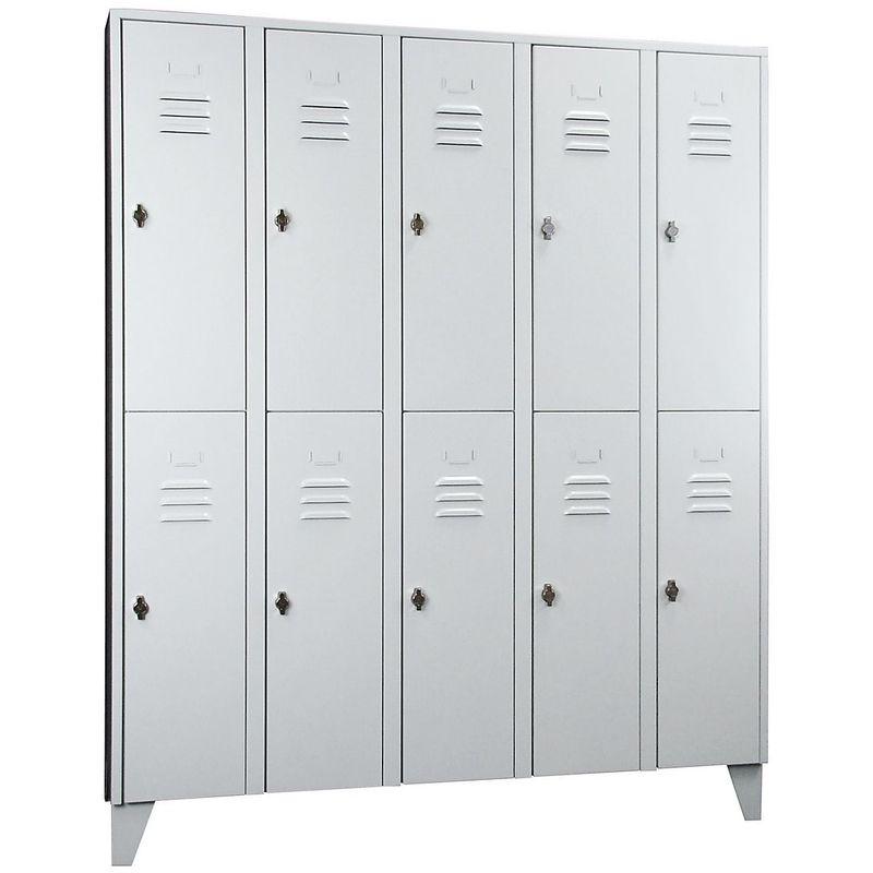 Wolf Vestiaire métallique sur pieds, compartiments séparés horizontalement - portes à parois pleines, largeur - Coloris corps: gris clair RAL 7035
