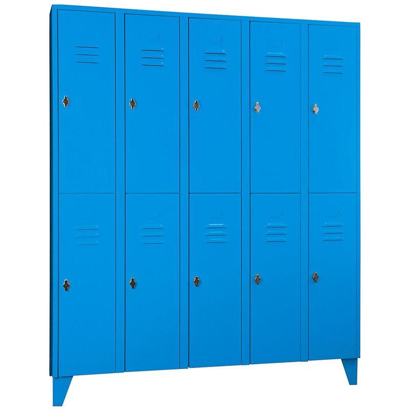 Wolf Vestiaire métallique sur pieds, compartiments séparés horizontalement - portes à parois pleines, largeur - Coloris corps: bleu clair RAL 5012
