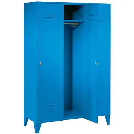 Wolf Vestiaire métallique sur pieds, compartiments sur toute la hauteur - portes à parois pleines, largeur compartiments - Coloris corps: bleu clair RAL 5012