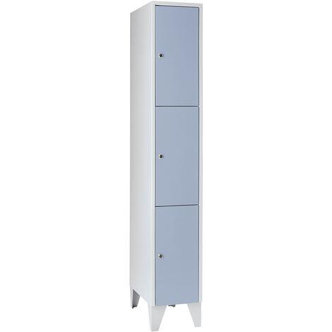 Wolf Vestiaire multicase - 1 compartiment, 3 casiers - largeur 400 mm, gris argent