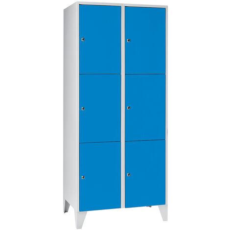 Wolf Vestiaire multicase - 2 compartiments, 6 casiers - largeur 800 mm, bleu clair