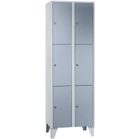 Wolf Vestiaire multicase - 2 compartiments, 6 casiers - largeur 800 mm, gris argent