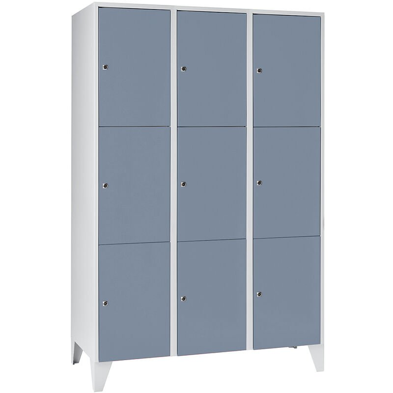 Wolf Vestiaire multicase - 3 compartiments, 9 casiers - largeur 1200 mm, gris argent - Coloris des portes: gris argent RAL 7001