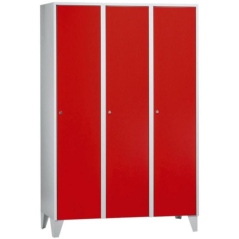 Wolf Vestiaire multicases sur pieds - h x l x p 1850 x 1200 x 500 mm, 3 casiers - rouge feu - Coloris des portes: rouge feu RAL 3000