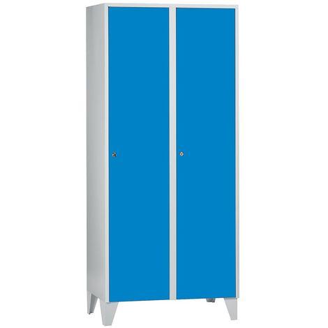 Wolf Vestiaire multicases sur pieds - h x l x p 1850 x 800 x 500 mm, 2 casiers - bleu clair