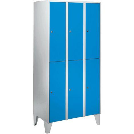 Wolf Vestiaire multicases sur pieds - h x l x p 1850 x 900 x 500 mm, 6 casiers - bleu clair