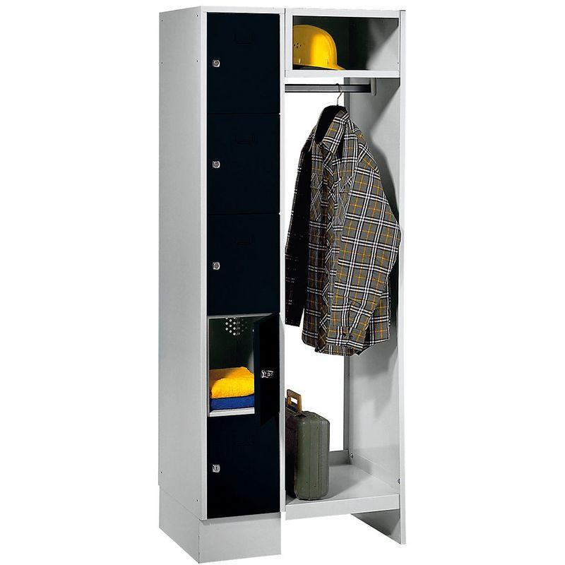 Wolf Vestiaires à casiers verrouillables - 5 compartiments à gauche, 5 cintres - largeur h.t. 750 mm, largeur tablettes - Coloris des portes: noir