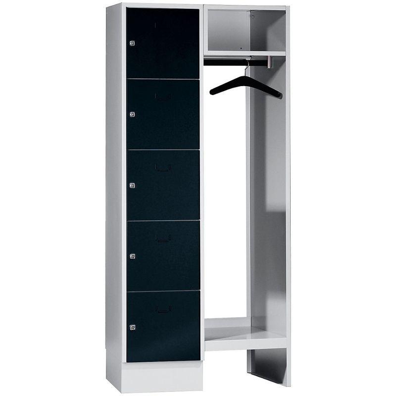 Wolf Vestiaires à casiers verrouillables - 5 compartiments à gauche, 5 cintres - largeur h.t. 850 mm, largeur tablettes - Coloris des portes: noir