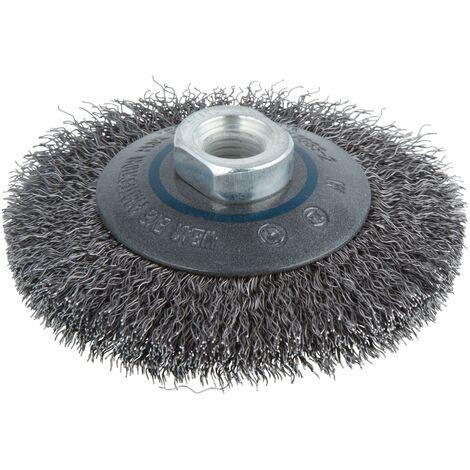 Wolfcraft 2705000 - 1 cepillo metálico, cónico, ondulado, rosca M 14 Ø 100 x 15 mm