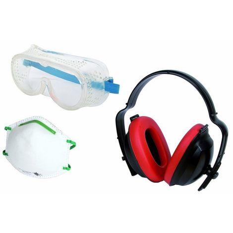 WOLFCRAFT 4871000 - Juego de proteccion en el trabajo de 3 piezas 1 gafas mascara y casco anti-ruido