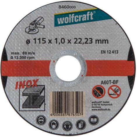 Wolfcraft 8460000 - 3 discos de cortar para metal especifico para acero fino, Ø 115 x 1,2 x 22,23 mm