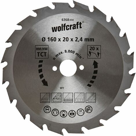 Wolfcraft Lame de scie circulaire CT, 160x20x2.4 mm, 20 dents