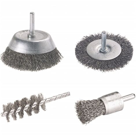 Wolfcraft Wire Brush Set Round Shank 4 pieces 2133000