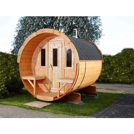 Wolff Finnhaus Saunafass 250-montiert, ohne Ofen & Zubehör, Dachschindeln:schwarz