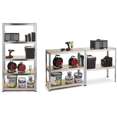 """main image of """"WOLFGANG Estantería de herramientas 2 en 1, Banco de trabajo con 5 estantes de madera MDF y metal, Capacidad 175 kg, 180x90x40"""""""