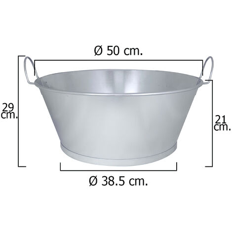 "WOLFPACK Barreño Galvanizado Baño 22"" 55x23 cm. 38 Litros"