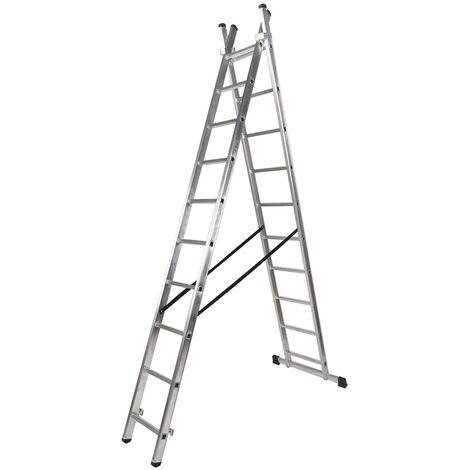 WOLFPACK Escalera Aluminio 2 Tramos Mecanica 14 Peldaños. Plegable, Telescópica, Antideslizante, Resistente