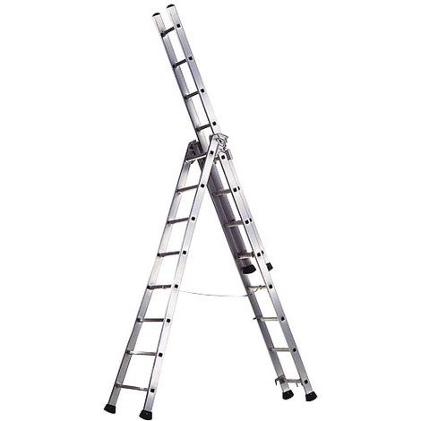 WOLFPACK Escalera Aluminio Industrial Pronor 3 Tramos.10+10+10 Peldaños