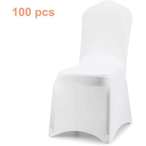 Wolketon Housse de Chaise, Couverture Blanc Universelle Extensible, très Facile à Nettoyer et Durable, pour Hotel, pour de Mariage/à Domicile Décoration