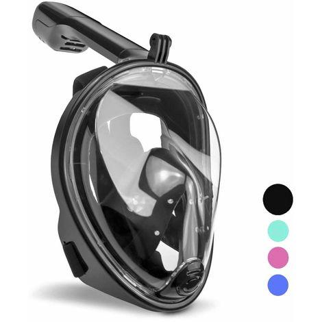 wolketon Tauchmaske Vollgesichtsmaske Schnorchelmaske 180° Sichtfeld Kamerahaltung Anti-Fog Anti-Leck für Kinder Erwachsene