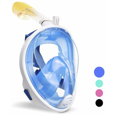 wolketon Tauchmaske Vollgesichtsmaske Schnorchelmaske 180° Sichtfeld Kamerahaltung Anti-Leck Anti-Fog für Erwachsene Kinder