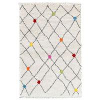 WOLLY Tapis de salon Shaggy - Style berbere - 120 x 170 cm - Creme et Multicolor - Aspect laineux