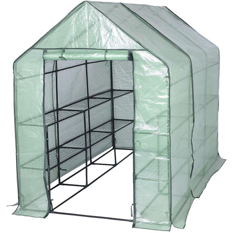 WOLTU Serre de Balcon/Jardin/Terrasse en PE. Serre à tomate avec porte. Serre pour légumes. Cadre en acier. 143x215x195 cm. Vert