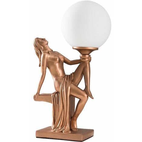 Woman Holding A White Opal Glass Globe Shade Gold Silver Copper Table Lamp